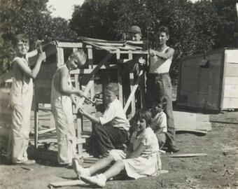 vintage photo 1938 Group Children Build Fort Hammer Wood Great Childhood