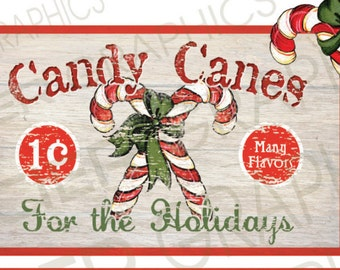 Country Christmas Candy Canes Sign Prim Label Tag Digital Download Country Farmhouse Christmas Printable Scrapbook Graphic Image Sheet