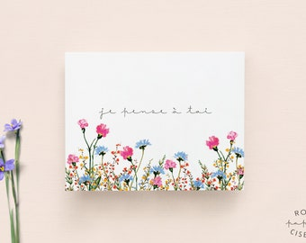 Thinking of you card in French // Flower Illustration, Sympathy card, Condolences, Greenery card, Hope card, Watercolour illustration, Whish