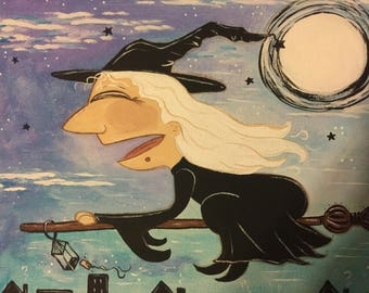Original painting Witch in Night Flight