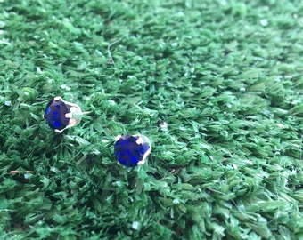 6MM Lab-Created Sapphire and Sterling Silver Stud Earrings