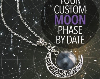 Custom Crescent Moon Phase Necklace, Personalized Jewelry, Meaningful Gifts For Her