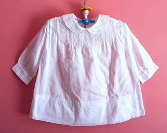 Vintage White Cotton Baby Dress * Long Sleeve