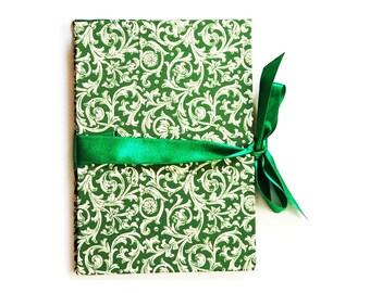 Photogift, green Brag Book, Zigzag- Photo- Book, Renaissance ornament Accordion Book, Baby Album, gift idea for grandparents