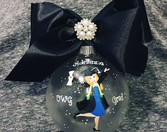 Graduation Girl personalized painted large ornament