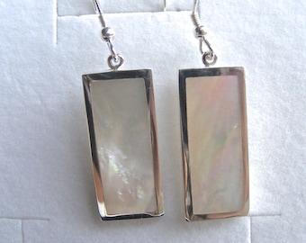 Mother of Pearl/Silver Rectangular Drop Earrings