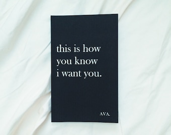 poetry book: this is how you know i want you. by AVA.