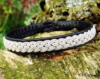 Lapland Sami Bracelet ASGARD in Black Reindeer Leather with Pewter Braid Custom Handmade for Vikings and Shieldmaidens :)