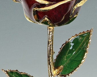 Real Rose Plated in 24k Gold - Gift for Her - Burgundy