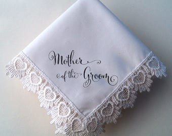 Mother of the Groom wedding handkerchief with heart lace, printed handkerchief, wedding gift for Mom, Mother of the Groom gift, gift boxed
