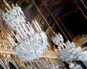 Canvas Print, Palace Of Versailles, Paris, France, Chandelier French Photography, Travel Photography, Versailles Museum Hall Of Mirrors, Art