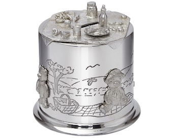 Personalised Pewter Children's Teddy Bears Picnic Money Box Customised Engraved Message