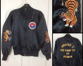 1970's Embroidered black Satin Jacket Martial Arts Hwang's Tae Kwon Do Agawam Dragon sleeve Tiger size XS