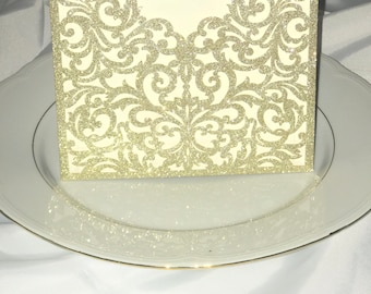 Elegant laser cut glitter wedding invitation pocket