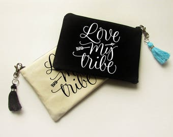 Cosmetic bag with Tassel - Love My Tribe - Makeup Bag - Bridesmaid gift - Bridal Party gifts - Medium