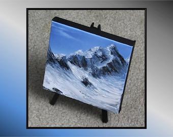 "6x6"" Mini Painting, Original Oil Painting - Glacier Mountain Landscape Wall Art"