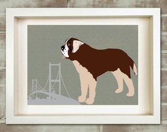 St Bernard Dog Art - Fine art print, pet lover, brown, dog lover, illustration, dog near golden gate bridge