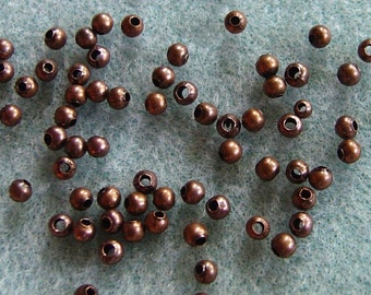 Antique Copper 3.2mm Round Spacer Beads 828