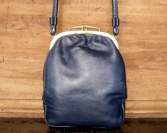 vintage blue leather handbag, women leather bag, leather shoulder bag, blue leather bag, bag for women, top handle bag, vintage bag