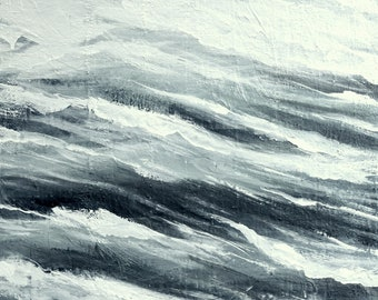 Ocean Waves Wall Art - Ocean Abstract Painting - Original Canvas Artwork - Ready to Hang - 24x20""