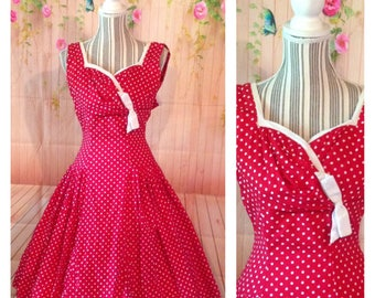 Vintage 50's Cotton Red And White Polka Dot