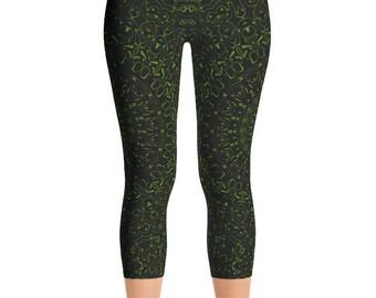 Capris Avocado Yoga Pants, Black Leggings with Green Mandala Designs for Women, Printed Leggings, Pattern Yoga Tights