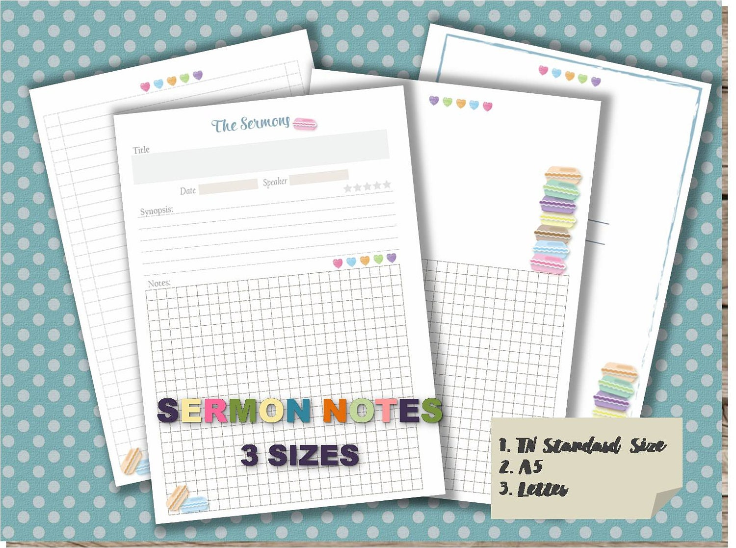 Sermon notes journal pdf template printable notebook page