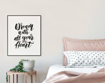 Dreamer Art, Follow Your Dreams, Bedroom Art, Digital Download, Dream Big, Dream Wall Art, Gift for College, Gift for Graduate, diy print
