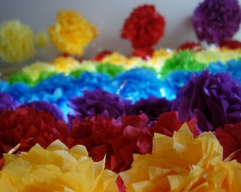 144 CONNECTING PuffScape Window Curtain DIY Tissue Paper Pom Pom Flower Puff Rainbow Wedding First Birthday Carnival Circus Beach Ball Party