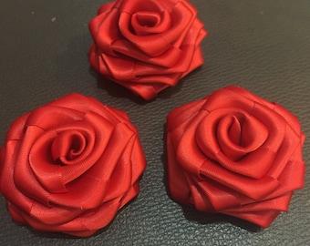 "Red Satin Ribbon Rolled Rose, 2.5"", Satin Rosette, Wholesale Flower , Floral Embellishment, fabric flower"