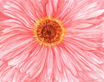 Gerbera Daisy Watercolor Painting Original, Pink Gerber Daisy  original watercolor painting of pink daisy flower close up, macro, 8 x 10