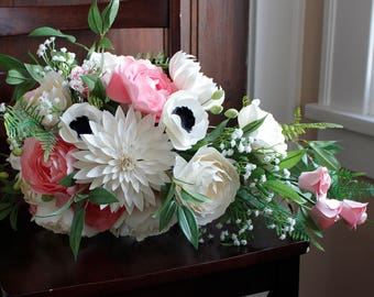 Paper Cascading Bouquet - White and Pink - Roses, Peonies, Anemones, Dahlias, Baby's Breath with Silk Greenery