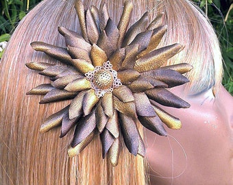 Leather Brown and Gold Flower Hair Fascinator with  Vintage Button -- Barrette