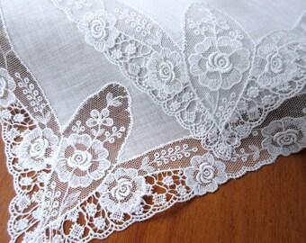 Wedding   Handkerchief  Vintage Hanky  Wedding Handkerchief  , Wedding Accessories  Bridal Hanky.
