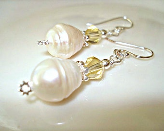 Pearl Earrings, Dangle Silver Earrings, Citrine Color Earrings, CLEARANCE SALE