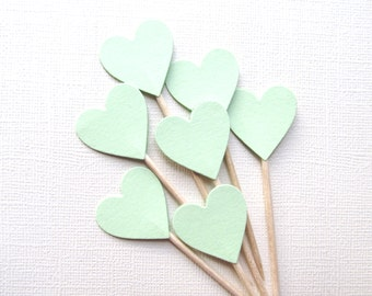 24 Mint Heart Cupcake Toppers, Weddings, Party Decor, Double-Sided, Food Picks, Showers, Spring, Easter, Summer, Love