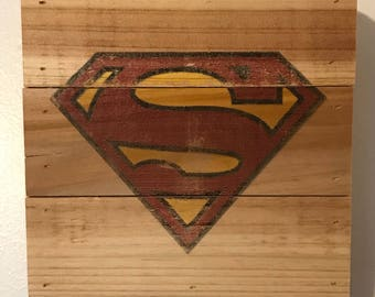 Distressed Superman Logo u2013 Wooden Crate Wall Art & Superman wall art | Etsy