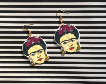 Frida Kahlo earrings, Frida Kahlo gifts, perfect present for Frida fans, statement earrings for art lovers