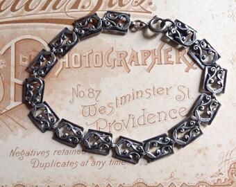 Vintage Danecraft link bracelet Sterling Silver 925 Art Deco Signed Filigree Danecraft Bracelet