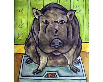 Pot Belly Pig in the Bathroom Animal Art Print