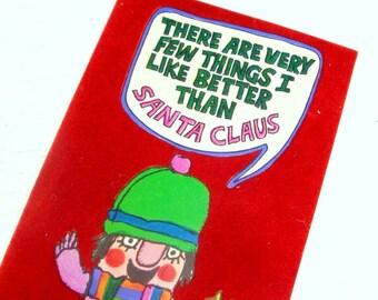 Vintage Flocked Christmas Card, Santa Claus, Kitsch, Hallmark Contemporary Holiday Greeting Card  (490-14)