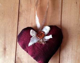 Red Heart Decoration with Bow & Button