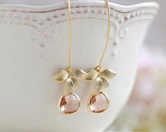 Peach Champagne Earrings, Gold Orchid Flower Earrings, Peach Bridal Earrings, Champagne Wedding Earrings, Long Dangle Earrings