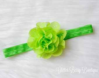 apple green headband, handmade headband, green headband
