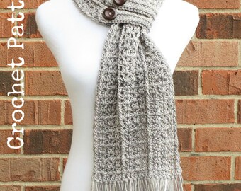 CROCHET SCARF PATTERN Crochet Cowl Button Scarf Neckwarmer Pattern Instant Download English Only - Hartford Buttoned Scarf
