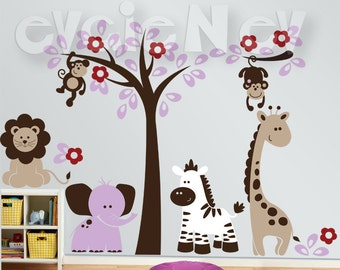 Jungle Safari Wall Murals with with Zebra, Lion, Giraffe and Elephant - Wall Stickers PLSF011