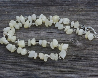 Men's White Jade Necklace ~ Natural Stones ~ Irregular Stones ~ Good Luck Stones ~ Hippie Style ~ Father's Day Gift