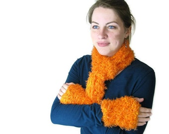 Neon Orange Crochet Scarf and Mitts Set - Bright Neon for Female Kids, Adults, Girls, Tweens, Teens or Women
