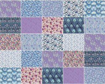 """Twilight Night Light, Liberty print charm pack, blue and purple charm squares, 5"""" patchwork squares"""