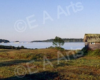 Lobster Boat At Rest Maine Panoramic Photography Color Art Print Paul Vose Maine Photographer